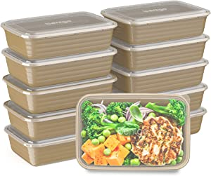 Bentgo Prep 1-Compartment Meal-Prep Containers with Custom-Fit Lids - Microwaveable, Durable, Reusable, BPA-Free, Freezer and Dishwasher Safe Food Storage Containers - 10 Trays & 10 Lids (Gold)
