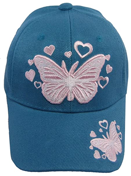 Amazon.com  Kid s Youth Pink Butterfly Hat - Baseball Cap (Aqua ... 76929f4f4f3e