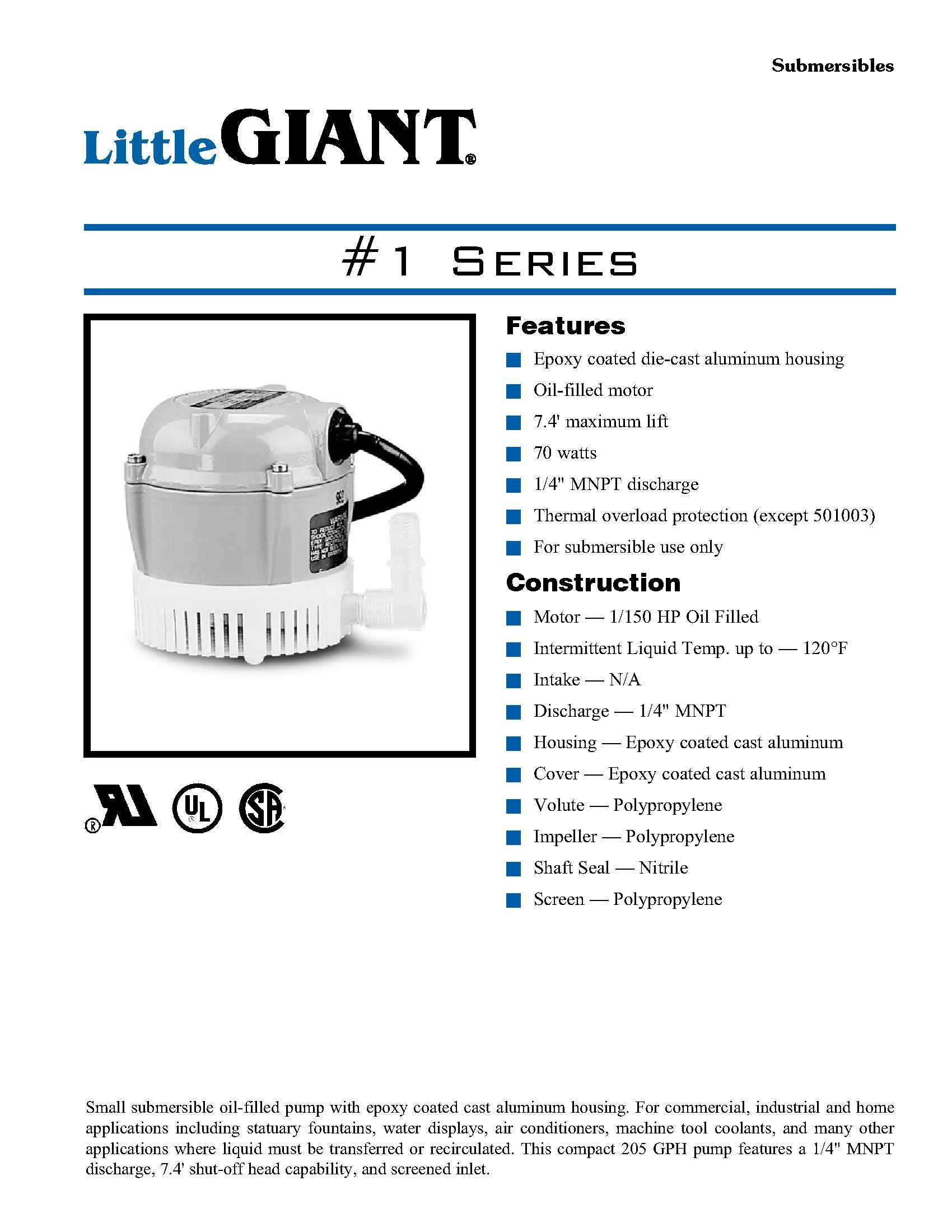 Little Giant 501003 1 115 Volt 205 GPH Oil-Filled Small Submersible Pump by LITTLE GIANT (Image #2)