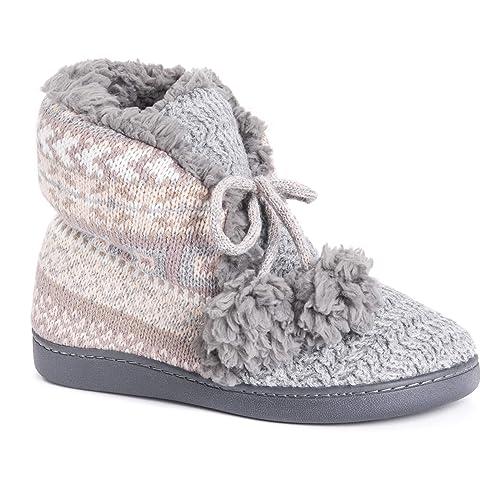 MUK LUKS Women's Lulu Bootie Slippers, Blush, Small M US