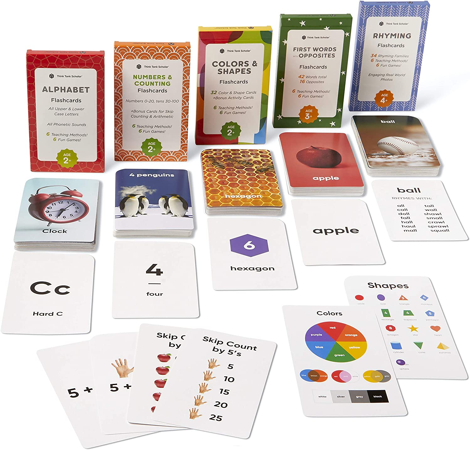 Think Tank Scholar Preschool Flash Cards Bundle - Alphabet (ABC) Letters, Math Numbers & Counting, Colors & Shapes, First Words & Opposites, & Rhyming for Toddlers Ages 2-6