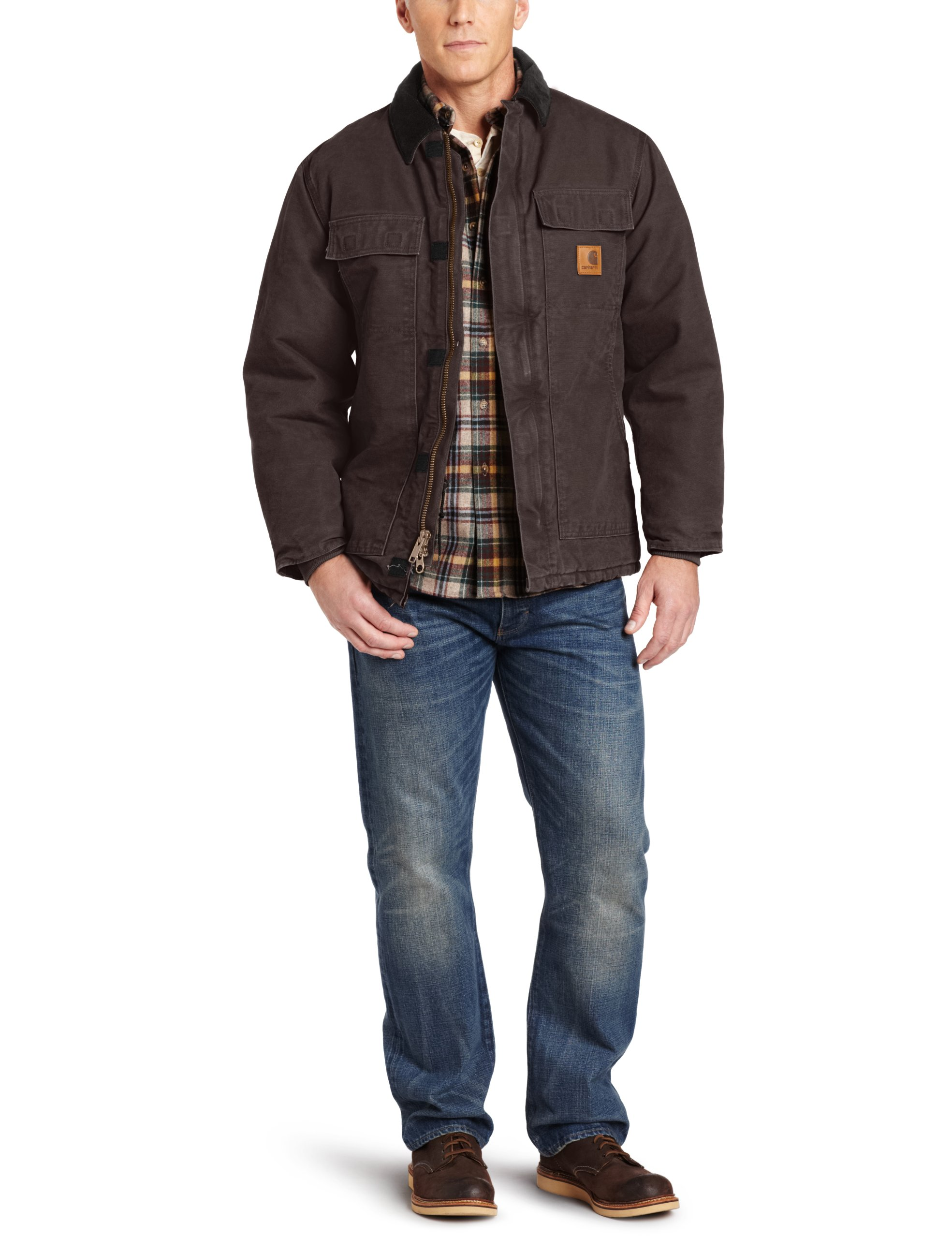 Carhartt Men's Arctic Quilt Lined Sandstone Traditional Coat C26,Dark Brown,Large
