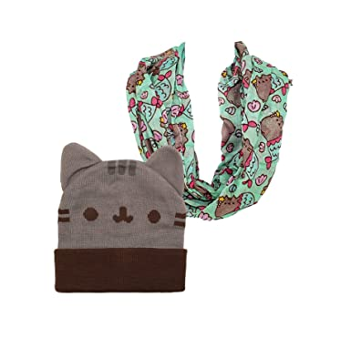 5089ec7c148 Pusheen Beanie Hat and Scarf Beanie Hat with Ears Infinity Scarf (2 ...