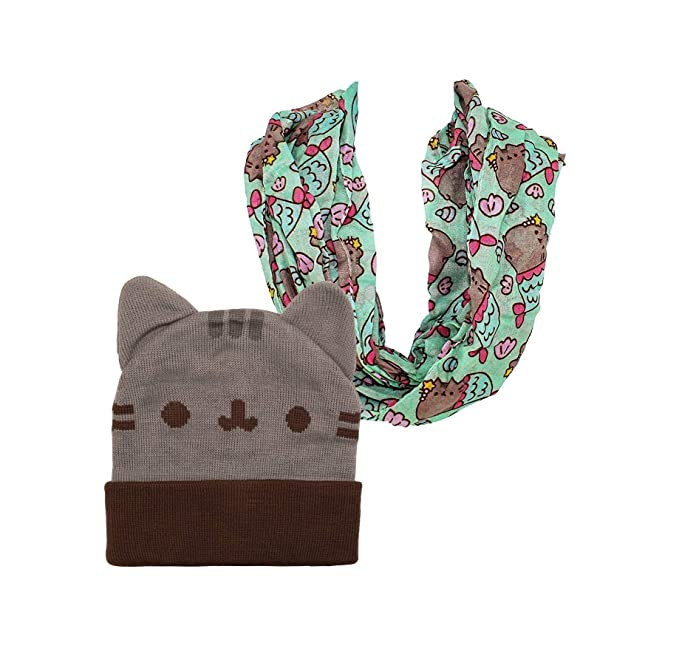 Pusheen Beanie Hat and Scarf Beanie Hat with Ears Infinity Scarf (2 ... 16eea51db7ad