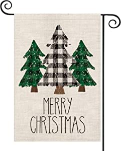AVOIN Buffalo Plaid Christmas Tree Garden Flag Vertical Double Sized, Winter Holiday Yard Outdoor Decoration 12.5 x 18 Inch