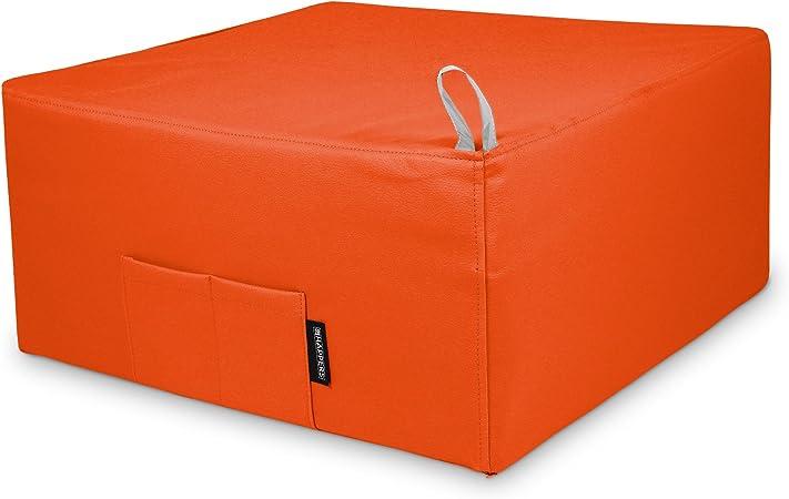 HAPPERS Puff Cama Individual para una Persona Polipiel Indoor Naranja: Amazon.es: Hogar