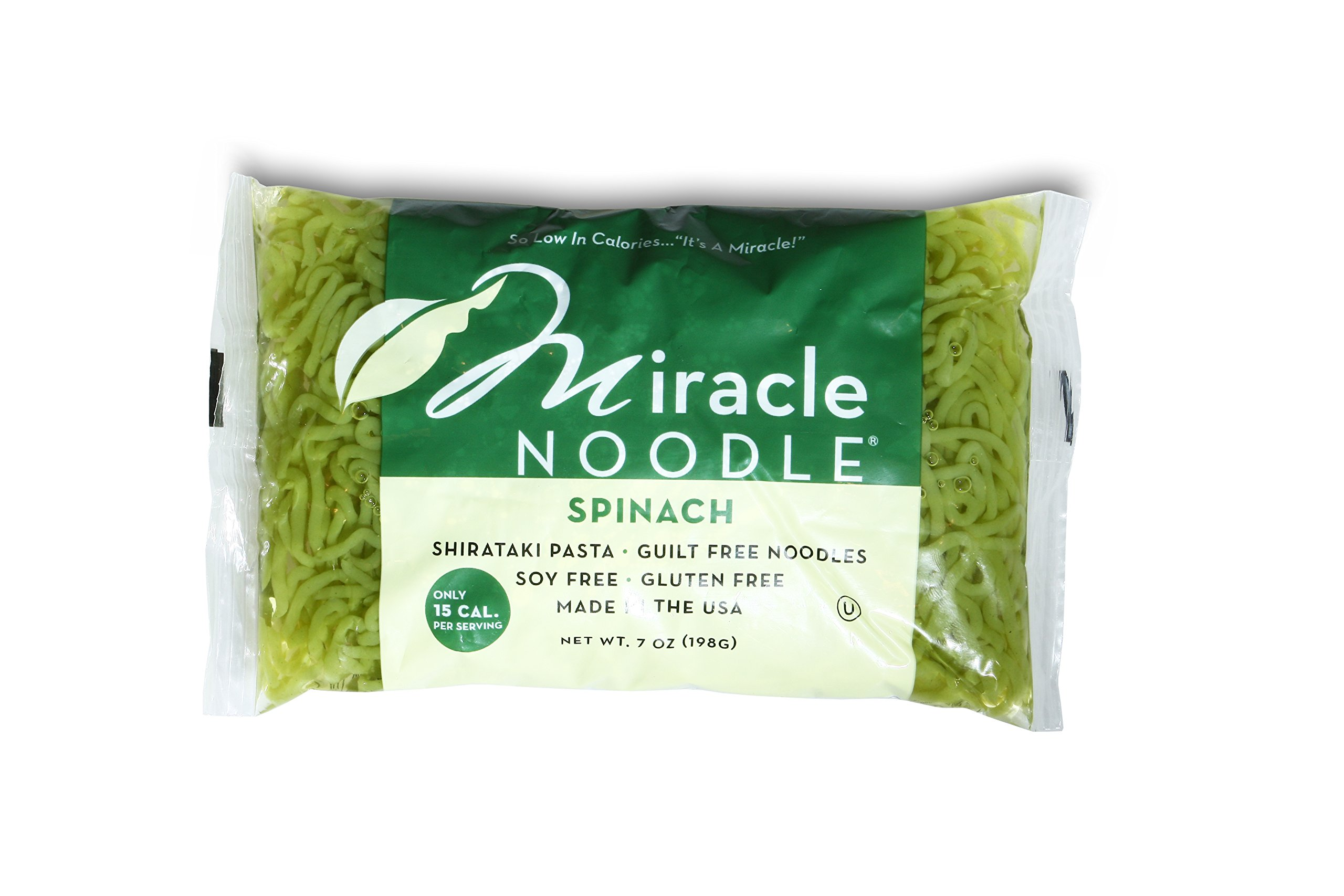 Miracle Noodle Spinach Shirataki Noodles, 7 oz (Pack of 6), Angel Hair Pasta, Low Carbs, Low Calorie, Gluten Free, Soy Free, Keto Friendly by Miracle Noodle