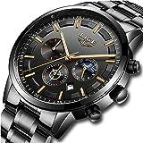 Men Watches Military Black Steel Wristwatch Casual Sport Waterproof Chronograph Analog Quartz Watch Men Fashion Dress Busines