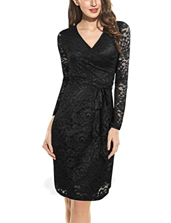 Valolia Lace Dresses For Women Lace V Neck Long Sleeve Knee Length