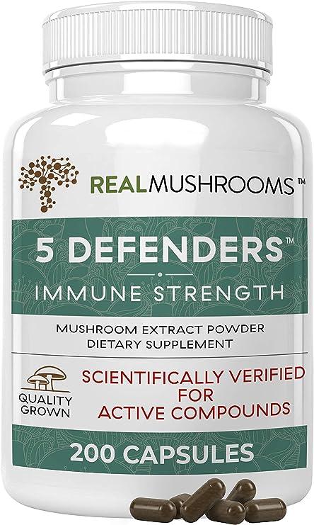 Real Mushrooms 5 Defenders Mushroom Supplements for Immune Support (200ct) Promote Better Overall Wellbeing w/ Chaga, Shiitake, Maitake, Turkey Tail, & Reishi Mushroom | Vegan, Non-GMO