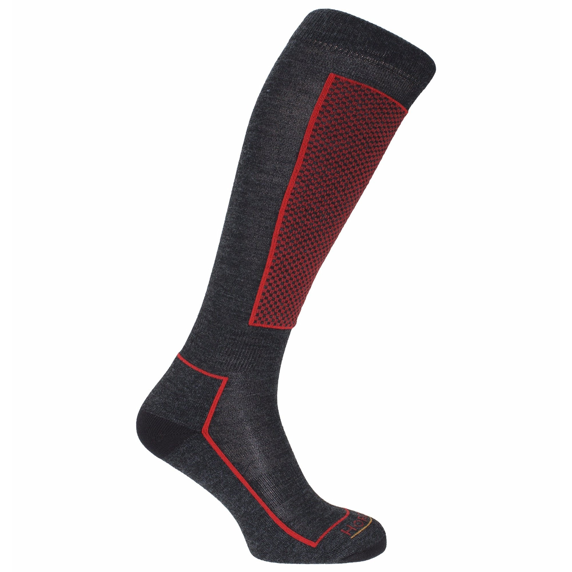Horizon Unisex Slalom Technical Ski Socks (4.5-7.5 US) (Charcoal/Red)