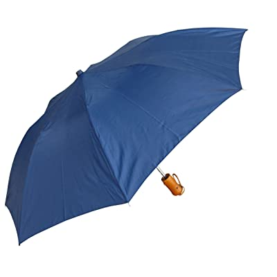 """RainStoppers W001 Auto Open Collapsible Arc Umbrella with Wood Handle, Navy, 42"""""""