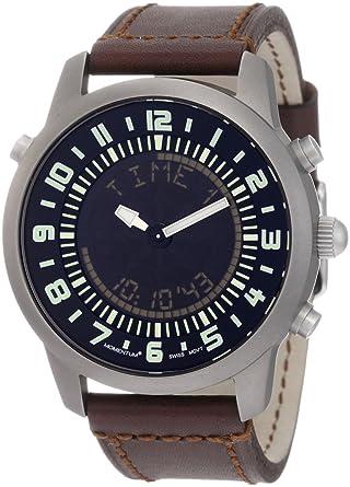 Momentum Chronologic F3 - Reloj analógico - digital de caballero de cuarzo con correa de piel marrón (alarma) - sumergible a 100 metros: Amazon.es: Relojes