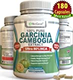 HCA Pure Garcinia Cambogia Extract (180 Capsules) Best Ultra Potent Proven Weight Loss Supplement Formula, Third Party Lab Tested For Purity & Potency (3000mg per day, 1500mg per serving)