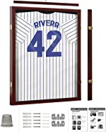 Jersey Display Frame Mahogany Finish Case Large Shadow Box Lockable with
