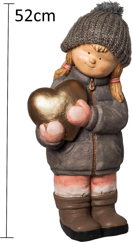 Statuetta decorativa a forma di gnomo in ceramica XXL per bambini invernali e bambine da giardino 52 cm per Natale