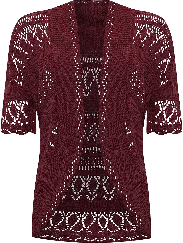 WearAll Women's Plus Knitted Crochet Short Sleeve Top Shrug Open Cardigan 85236