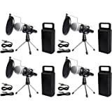 (4) Rockville Dynamic Podcasting Podcast Microphones+Stands+Pop Filters+Cables