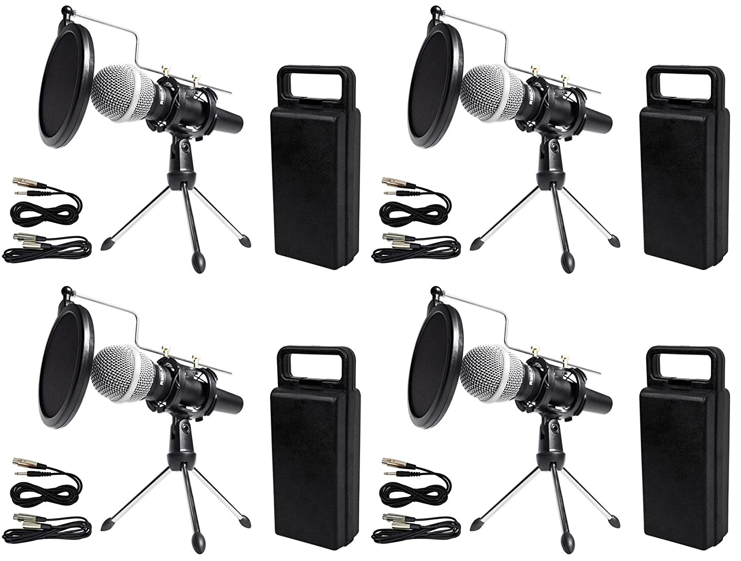 (4) Rockville Dynamic Podcasting Podcast Microphones+Stands+Pop Filters+Cables 81ccrsv1LgL