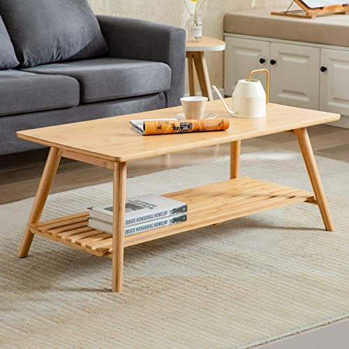 Nnewvante Coffee Table Foldable Bamboo Cocktail Table TV Stand Review
