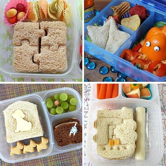 klemoo Sandwich y cortador de pan alimentos formas para niños, 8 pcs corteza y cortadores de galletas, que hora del almuerzo Fun y animar niños y niñas a ...