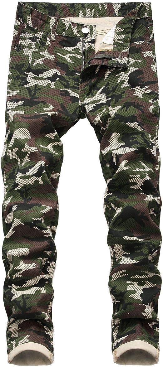 WAWAYA Men's Straight Slim Fit Camo Print Stylish Stretchy Jeans Long Pants
