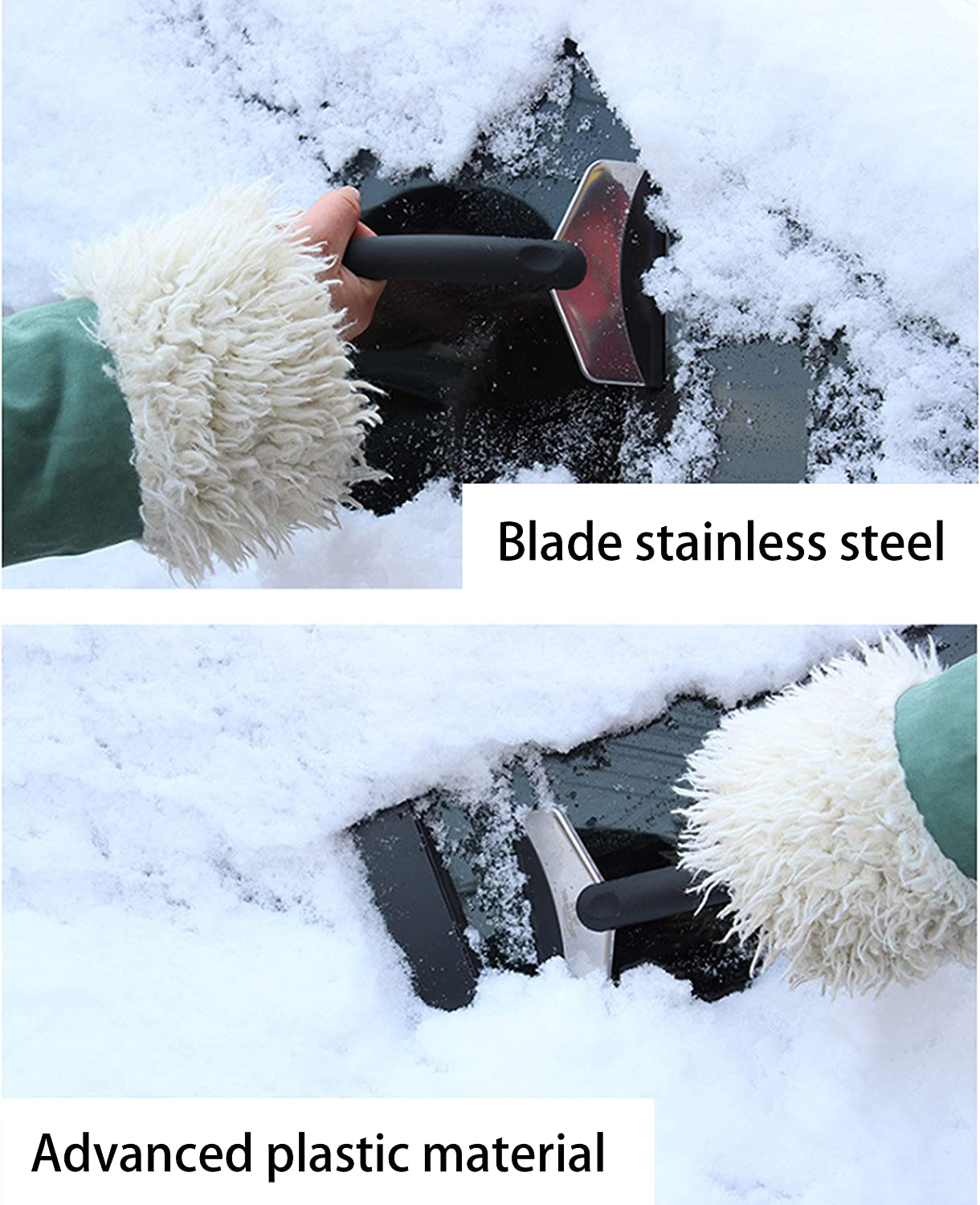 Windscreen Scraper with One and ABS Plastic Measuring Scraper Car Black XIAFENG Ice Scraper for Cars Ice Scraper Stainless Steel Snow Shovel