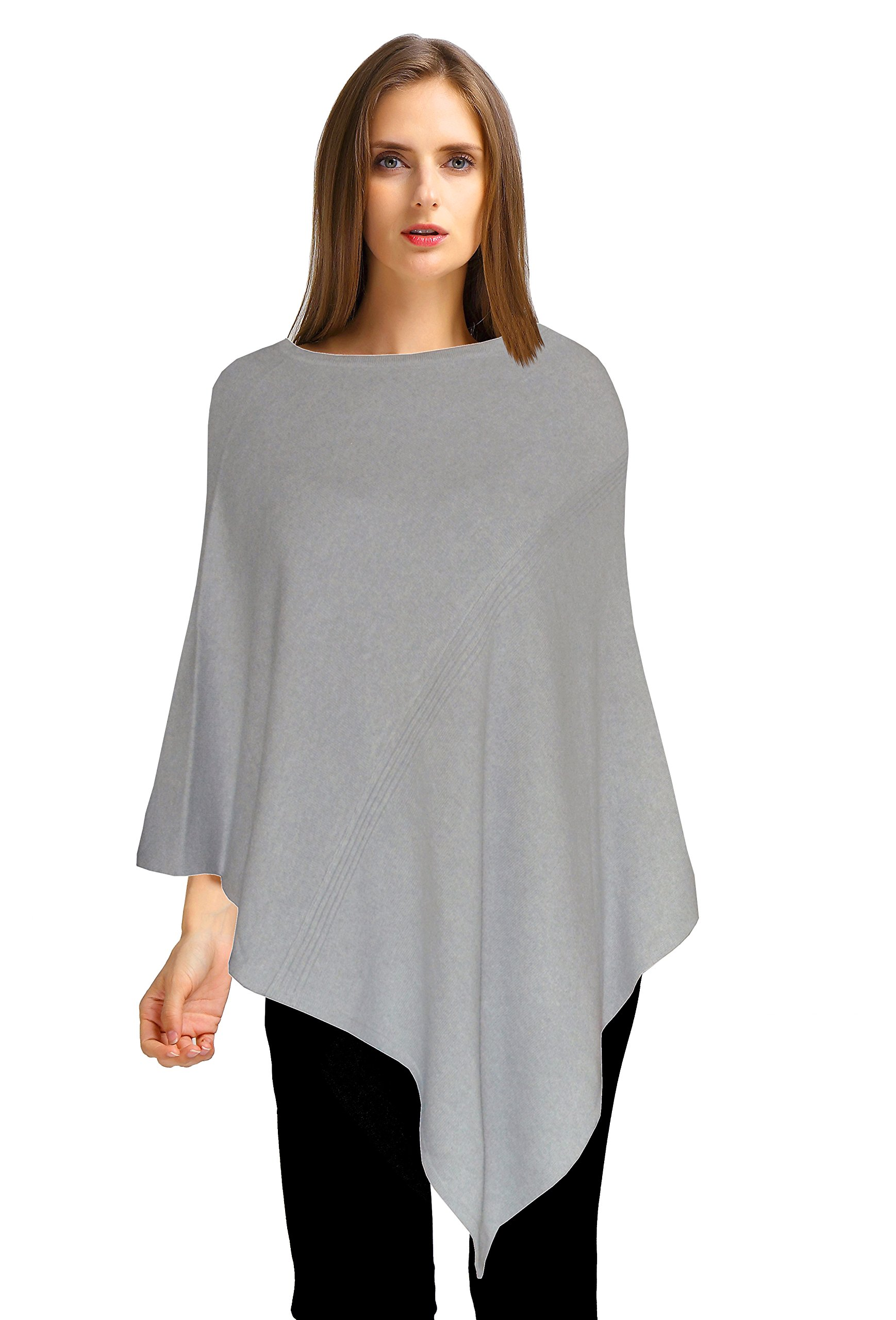 Ellettee, 96% Pure Cashmere Knit Pullover Poncho Dress Topper Travel Wrap Shawl Cape Sweater Cloak (Lime)