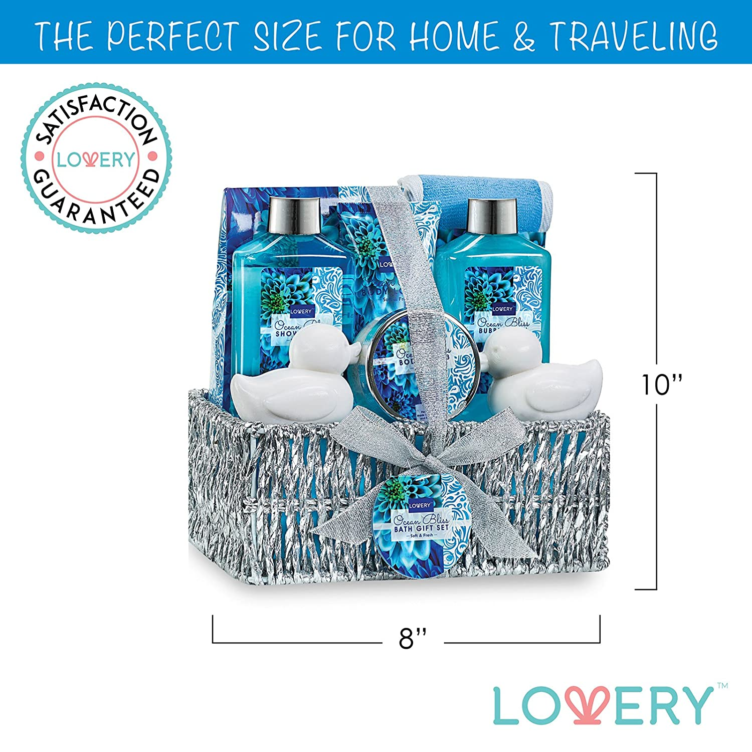 Amazon.com : Home Spa Gift Basket in Heavenly Ocean Bliss Scent - 9 Piece Bath & Body Set With Shower Gel, Bubble Bath, Salts, Lotions & more!