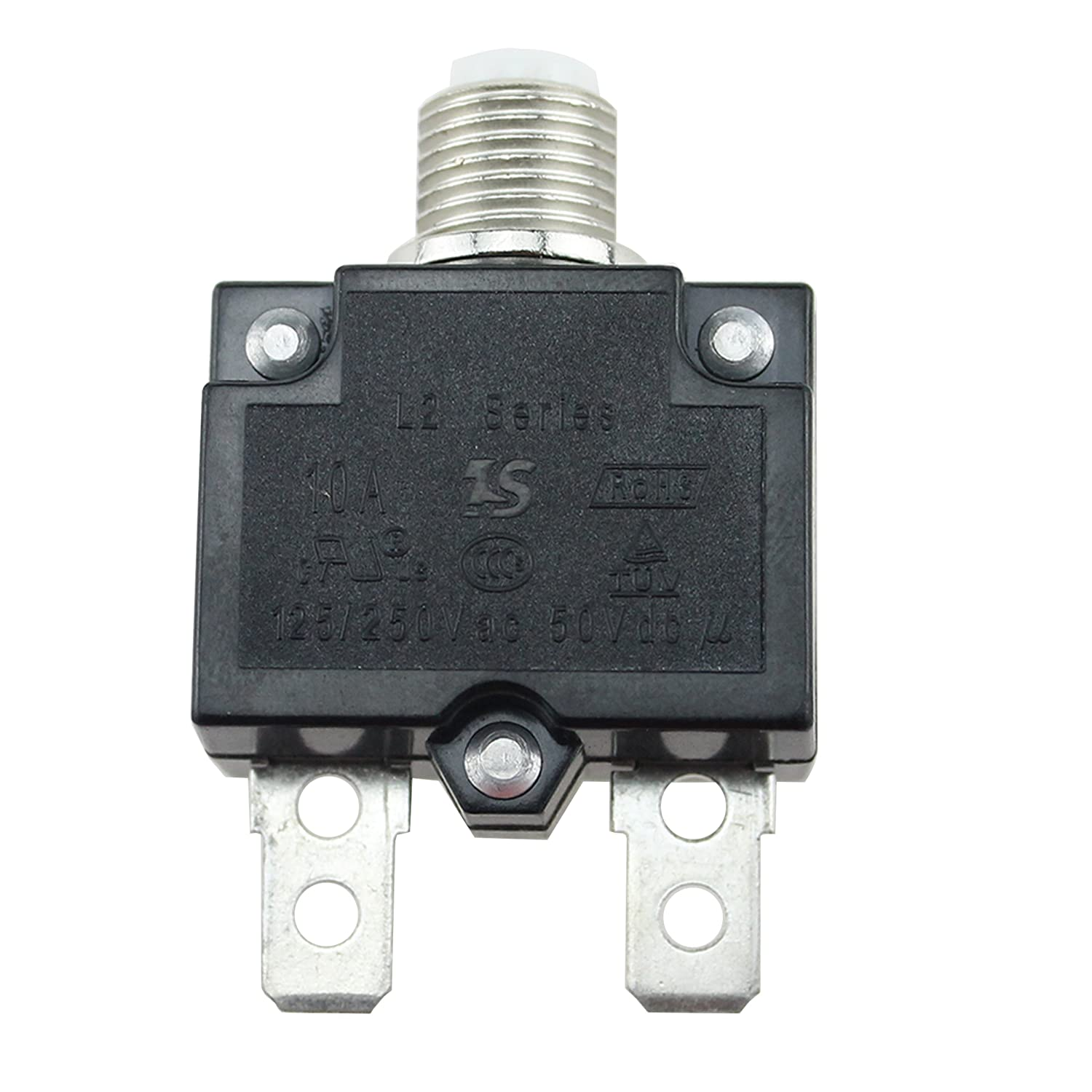 IZTOSS 15Amp Circuit Breakers with manual reset Waterproof Button transparent Cover DC50V AC125-250V with Quick Connect Terminals
