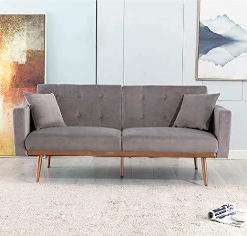 SSLine Velvet Futon Couch,68inch Mid Century Sofa Couch 2 Small Pillows,Modern Upholstered Loveseat Sofa Accent Sofa