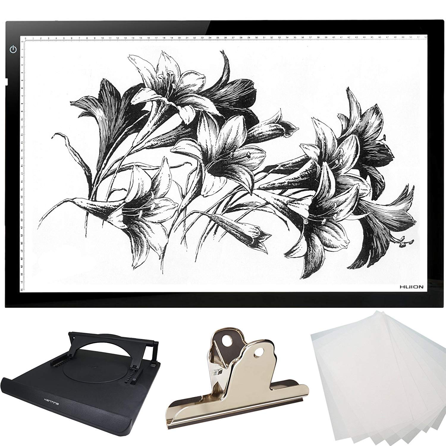 HUION 26.8 Inches (Diagonal Length) Super Thin LED Drawing Copy Tracing Stencil Board Table Tattoo Pad Translucent Light Box with Multifunction Stander, Drawing Board Clip, Tracing Paper - A2 Holder by HUION