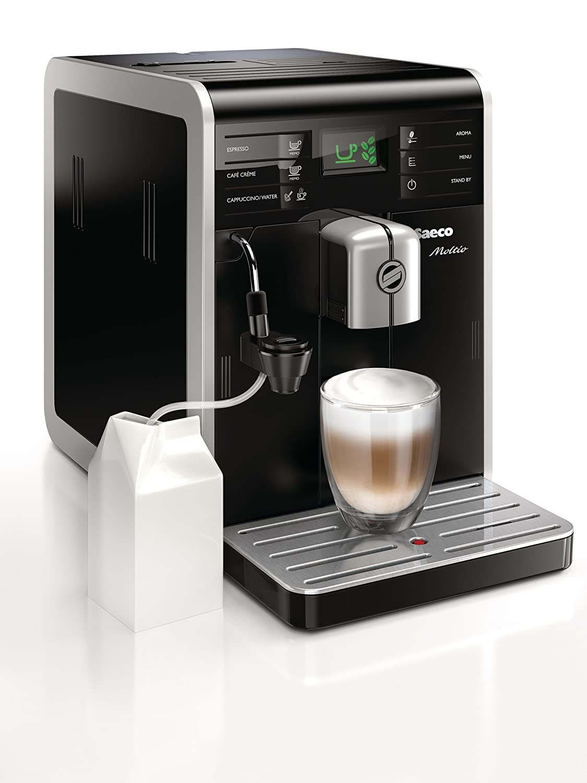 Saeco Moltio - Cafetera espresso super automática, con espumadera de leche clásica, color negro