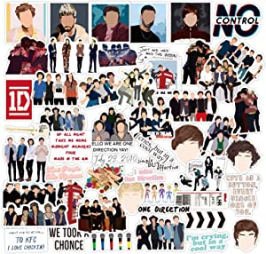 52Pcs One Direction Vinyl Stickers Decals, Singer Harry Styles Louis Liam Horan Stickers for Laptop Water Bottle Bike Skateboard Luggage Computer Hydro Flask Toy Snowboard. Gifts for Kids Girls Teens