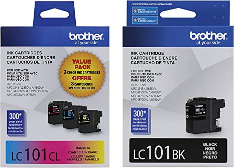 Amazon.com: Brother LC101 - Cartuchos de tinta (negro, cian ...