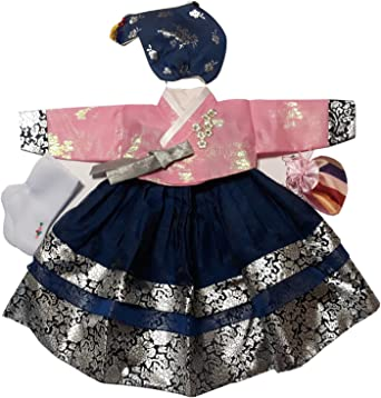 Girl Baby Hanbok Korean Traditional Dress First Birthday Party Celebration Hanbok Dress Clothing Set Total 10 items 1 Age Pink Ivory