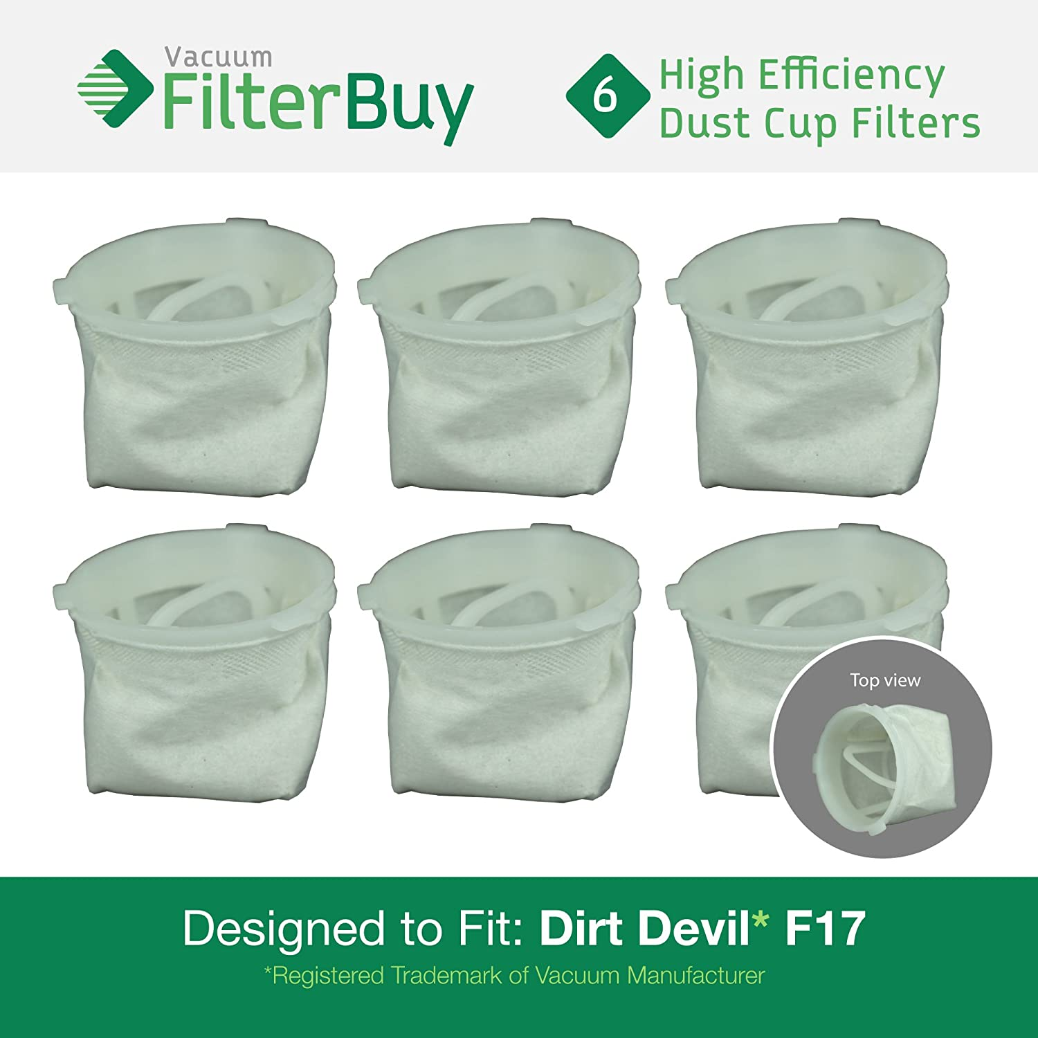 6 - FilterBuy Dirt Devil F-17 (F17) Dust Cup Replacement Filters, Part # 3DN0980000 (3-DN0980-000). Designed by FilterBuy to fit Dirt Devil KONE and Dirt Devil KURV Hand Held Vacuum Cleaners LEPAC7483