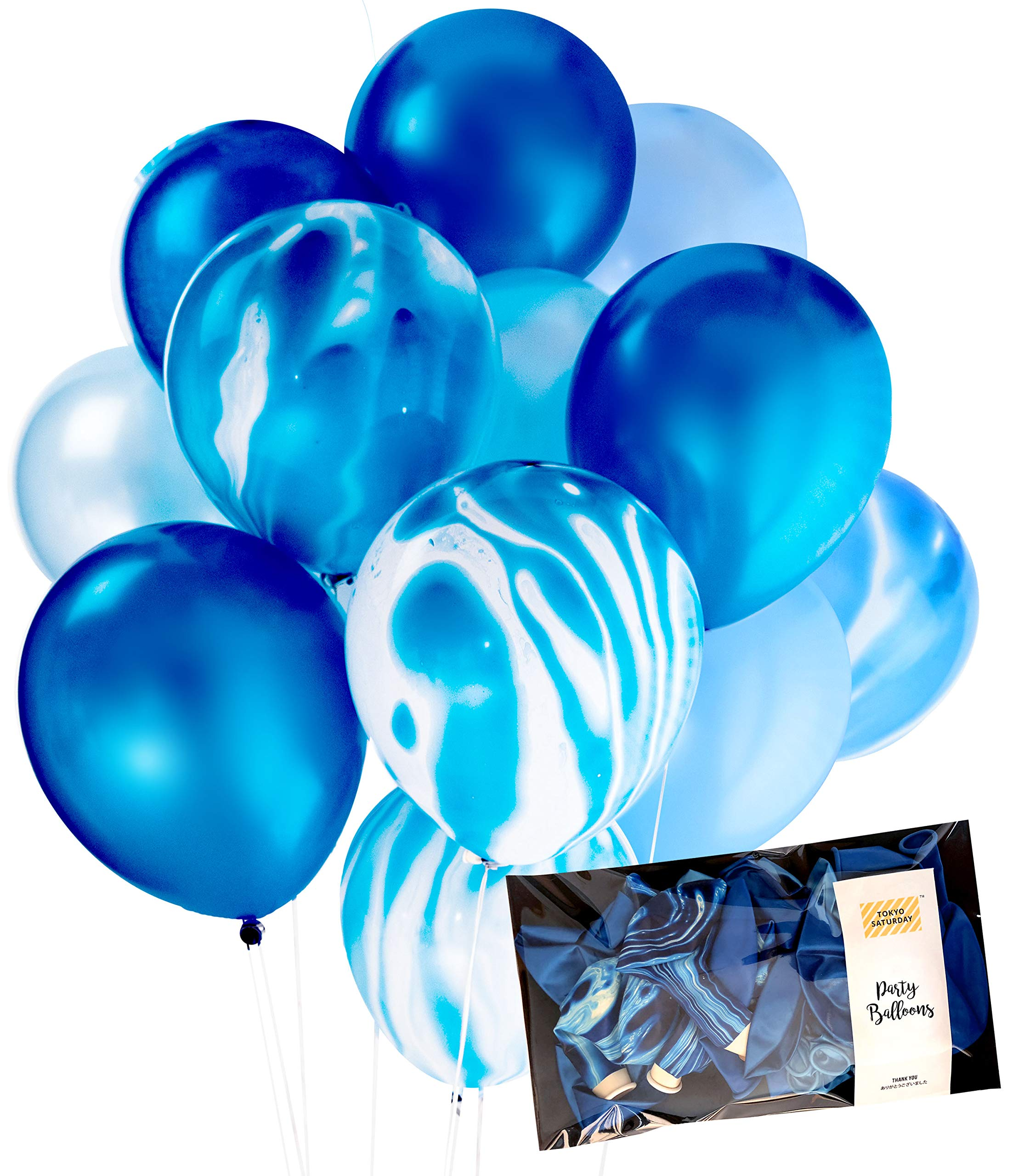 Modern Blue Agate Mix Latex Party Decoration Marble Balloon 30pc Thickened 12'' for Christmas, Wedding, Birthday Party, Photobooth, Backdrop, Balloon Arch (Blue Marble, 30)