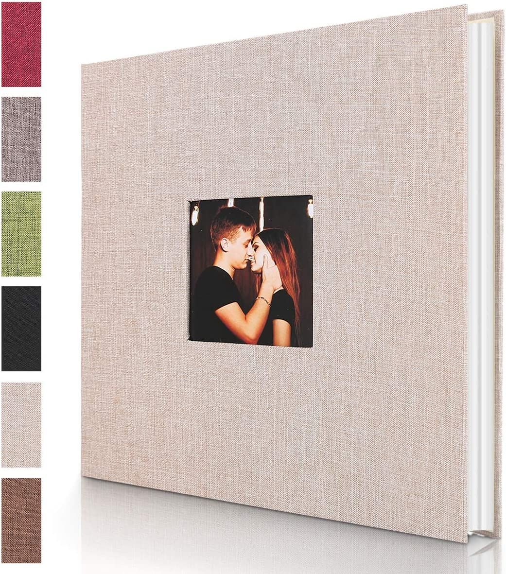 RECUTMS Self Adhesive Photo Album Magnetic Scrapbook Album 40 Pages Hardcover Length 11 x Width 10.6 Linen,Blue inches with Photo Album Storage Box DIY Accessories Kit