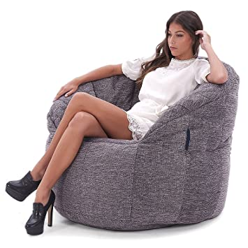 48b5044ac8 Ambient Lounge Butterfly Sofa Designer Bean Bag with Filling Luscious Grey  Interior Fabric  Amazon.co.uk  Kitchen   Home