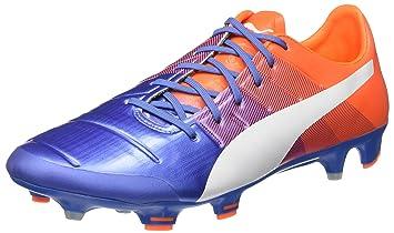 7014bc528e12 Puma evoPower 1.3 FG Football Shoe, Blue/Orange Puma Yonder White/Gum 10.5