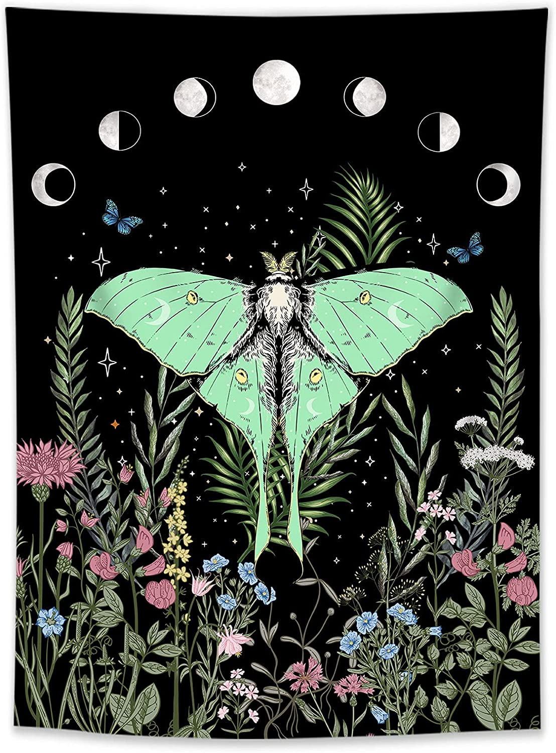 LB Trippy Floral Moon Phase Tapestry Butterfly Moth Tapestry Black Witchy Moonlit Garden Flower Tapestry Wall Hanging for Bedroom Living Room College Dorm Home Decor Vertical Aesthetic, 40x60 inch