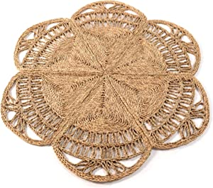 Circle Rug of Rattan Rug | Natural Rug Round 4 Ft, Round Jute Rug, Wicker Rug, Round Boho Rug, Woven Rug, Boho Rugs for Bedroom, Outdoor Round Rug, Rattan Wall Decor | Round Rugs 4ft, Flower Rug