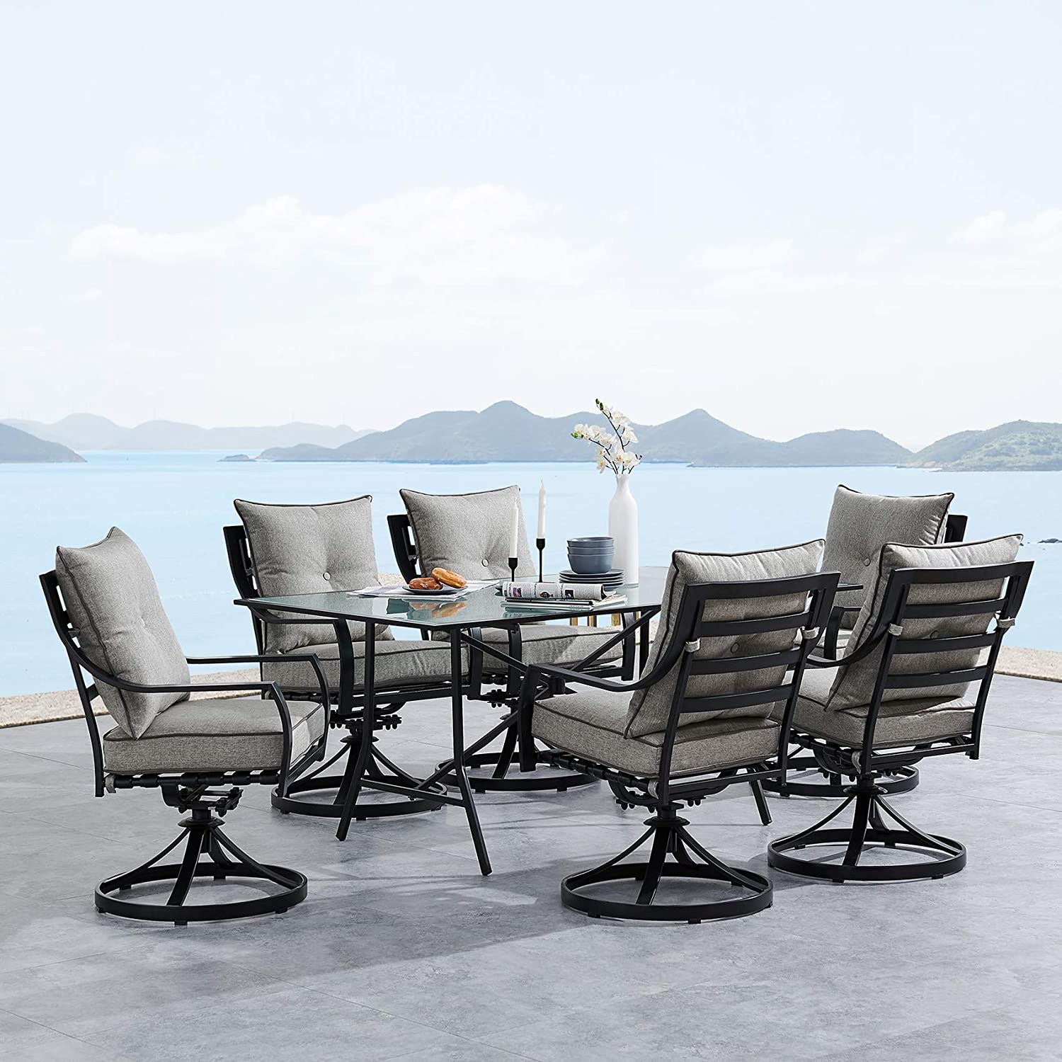 """Hanover LAVDN7PCSW-SLV Lavallette 7-Piece Silver Linings with 6 Swivel Rockers and a 66"""" x 38"""" Glass-Top Table Outdoor Dining Set"""