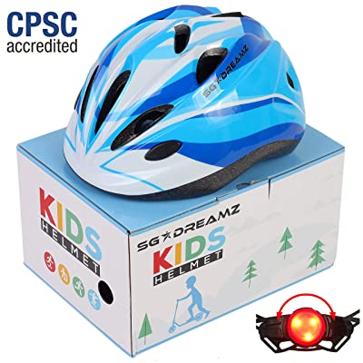 Kids Helmet – Adjustable from Toddler to Youth Size, Ages 3 to 7 - Comes in Great Looking Package Perfect for Gift - Multi-Sports with LED Safety Light - CSPC Certified for Safety (H12+LED+Box+Blue) : Sports & Outdoors