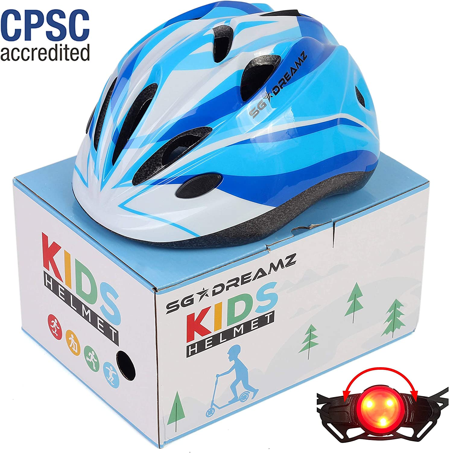 Ages 3 to 7 Multi-Sports with LED Safety Light Comes in Great Looking Package Perfect for Gift Kids Helmet CSPC Certified for Safety Adjustable from Toddler to Youth Size