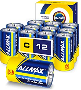 Allmax C Maximum Power Alkaline Batteries (12 Count) – Ultra Long-Lasting C Cell Battery, 7-Year Shelf Life, Leak-Proof, Device Compatible – Powered by EnergyCircle Technology (1.5 Volt)