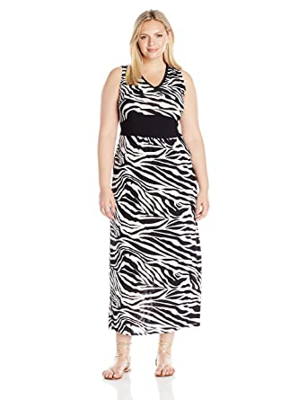 659ac7bf72 Star Vixen Women's Plus Size Sleeveless Black Inset Waist and V-Neck  Outlined Ity Knit Maxidress at Amazon Women's Clothing store: