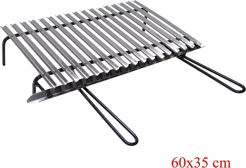 Graticola griglia in acciaio inox cm 40x35 con recupero grasso per barbecue gril