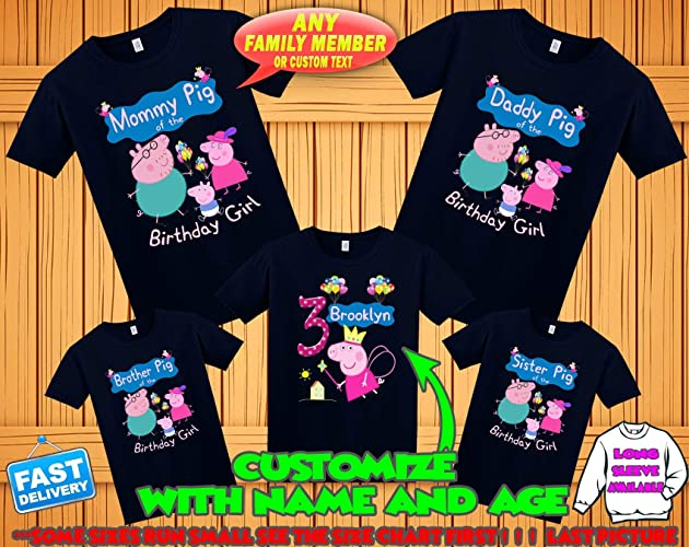Amazon Peppa Pig Birthday Shirt Custom Personalized Family Shirts T For Girls And Boys
